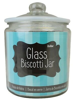 Heritage Small -  Large Clear Glass Storage Jar With Silicone Lid Biscotti Jars