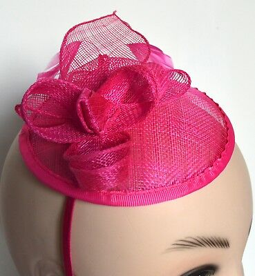 New Bright pink flower cap sinamay aliceband fascinator wedding races ascot prom