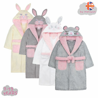Girls Bunny Rabbit Mouse Dressing Gown Robe Snuggle Fleece Soft Childrens Hooded