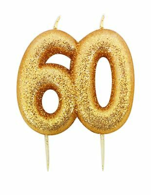 ** 9CM GOLD GLITTER NUMBER 60 CANDLE 60th BIRTHDAY PARTY CAKE DECORATION NEW **