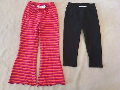 Hanna Andersson 120 Girls Lot Black Capris Leggings Striped Yoga Pants Warm
