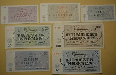 GB282 Getto Theresienstadt kompletter Satz 1, 2, 5, 10, 20, 50, 100 Kronen 1943