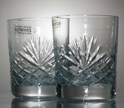 Pair Zawiercie of Poland Lead Crystal Cut Glass Whisky Tumblers - 210 ml