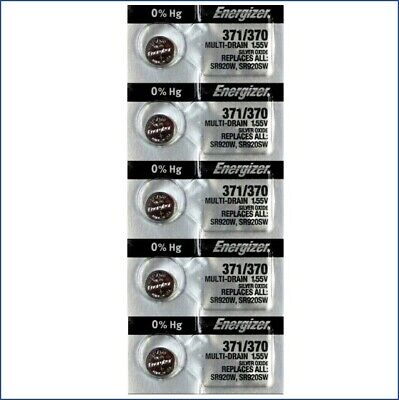 5 Pack Energizer 371 370 Sr920sw Watch  Battery Oxide Silver  Sr920w USA SELLER