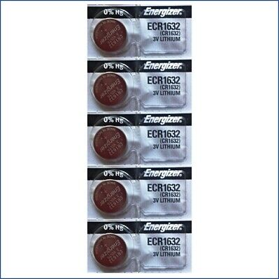 5 PACk FRESH ENERGIZER CR1632 ECR1632 1632 3V Lithium Coin Battery USA Seller