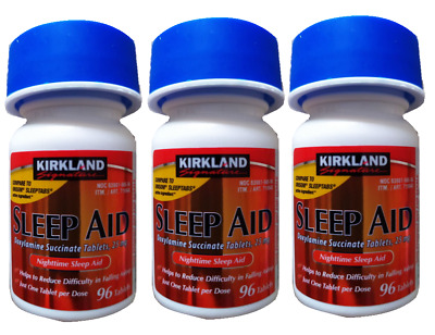 Kirkland Sleep Aid Doxylamine Succinate 25 mg,96 Tablets x 3+Free Ship