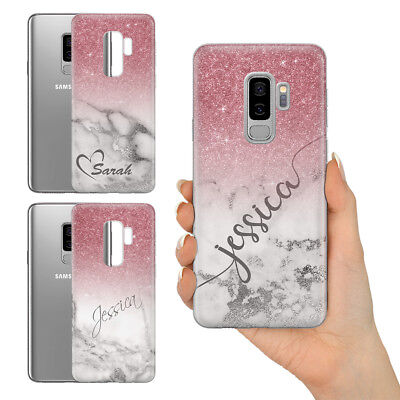 Personalised Champagne Rose Gold Marble Glitter Look Gel Phone Case For Samsung