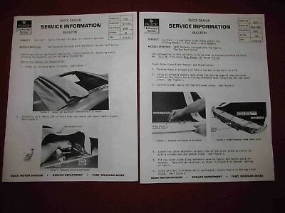 "Copy of 1972 Buick Sun Coupe ""Rag Roof"" Service Bulletins-TWO Different!"