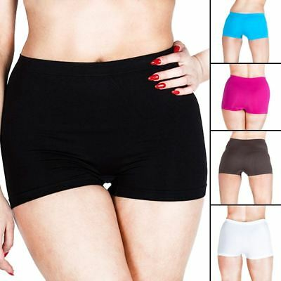 Womens Underwear Plain High Waist Ladies Seamless Stretch Boxer Shorts S M L XXL