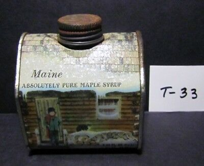 Vtg.maple Syrup Tin Marked Maine,  Log Cabin Shape 8.45 Fl.oz. In Very Good Con.