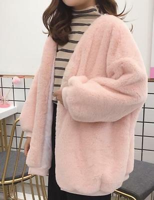 Womens Girls Faux Furry Parka Outwear Korean Style Fashion Jacket Coat HOT E808