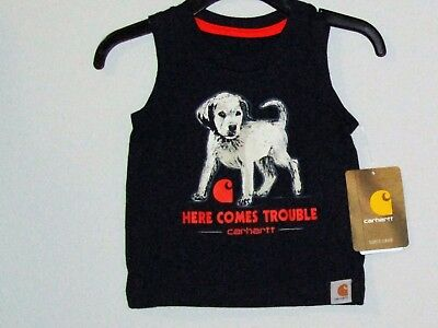 Carhartt infant boys T-shirt & navy blue, sleeveless, w/Dog & HERE COMES TROUBLE