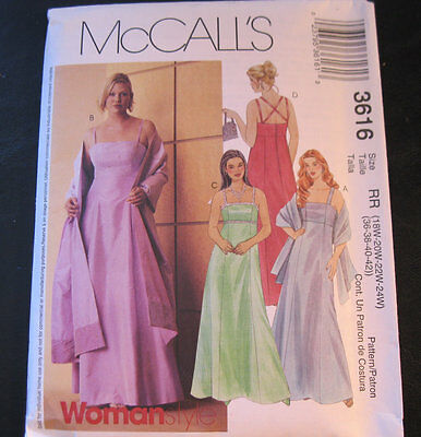 18be6f5425aac McCall 3616 Sewing Pattern 2002 Size 18W-24W Formal Long Dress Stole UNCUT  FF