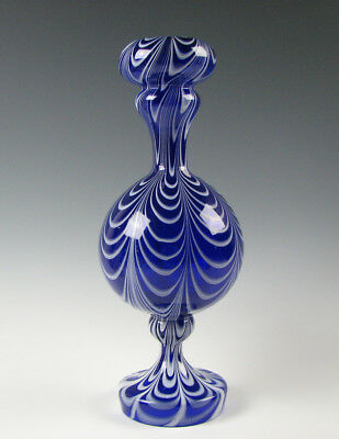 Antique Free Blown Glass Blue and White Marbrie Loop Mantel Vase 19th C.