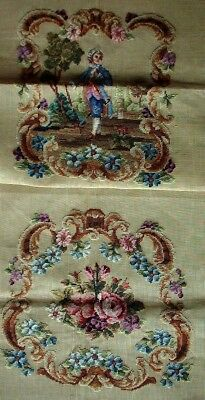 EP 2303 Vintage Colonial Man 2pc Chair Seat Set Preworked Needlepoint Canvas
