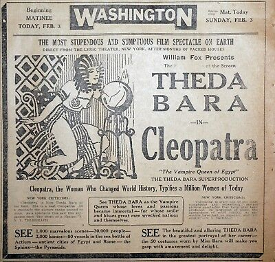 Theda Bara Cleopatra Silent Movie Ad - 1918 Detroit Newspaper Page