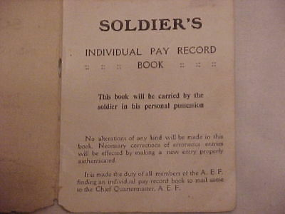ORIGINAL & VG Cond. WWI Doughboy's Pay Record Book w/ Provenance!
