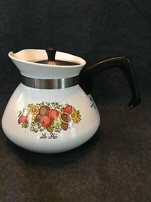 """Vintage Corning Ware """"Le The"""" Spice of Life Tea Pot P-104-8  6 Cup with Lid"""