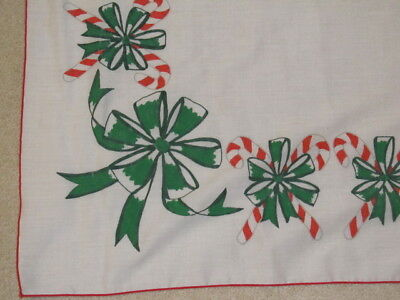 "Christmas Tablecloth White With Candy Canes &  Green Bows  43"" x 43""  #212"