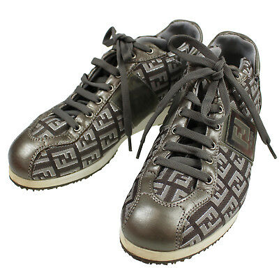 FENDI Zucca Sneakers Shoes Women s Silver Gray 35 Canvas Vintage Authentic   M24 9baee6744d2