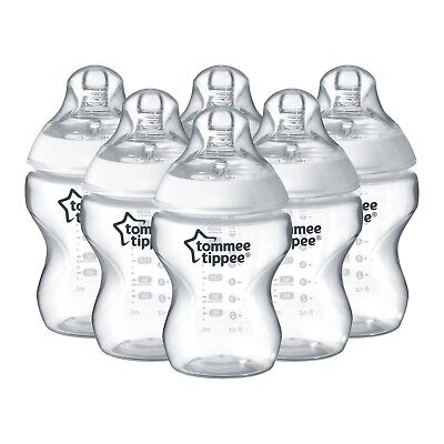 Tommee Tippee Closer to Nature 260ml / 9oz Decorated Feeding Bottles x 6 Clear