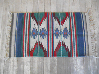 "ZAPOTEC CHIMAYO Southwest 40x22"" MEXICO RUG Reds Greens Blues Grays Brown Mexico"
