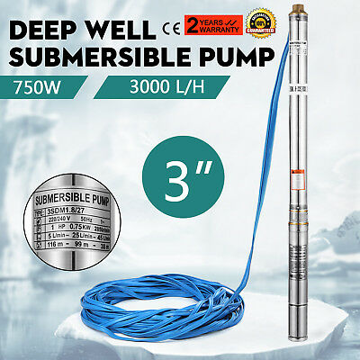 """3"""" Borehole Pump Deep Well Water Pump Electric Garden Submersible Pond 750W"""