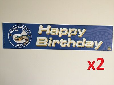 Official NRL Parramatta Eels Happy Birthday Banners Posters x2