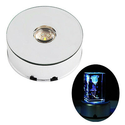 Trendy 7 LED Light Large Round Rotating Crystal Display Base Stand Holder SS US