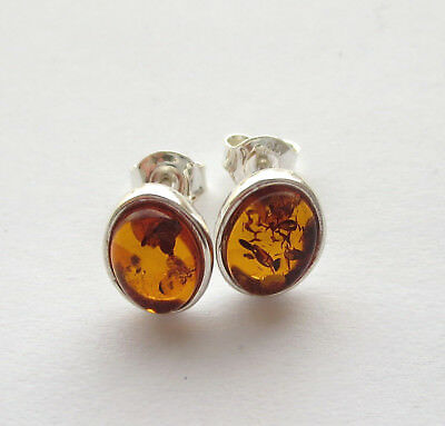 Natural Baltic Amber Stud Earrings Sterling Silver 925