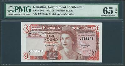 "1975 GIBRALTAR 1 POUND ""THE GOVERNMENTOF GIBRALTAR""  PICK # 20a PMG 65 LQQK!!*"