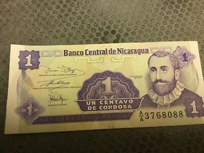 Nicaraguan One Centavo Bank Note