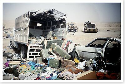 Demolished Vehicles Left By Retreating Iraqi Soldiers Desert Storm 8 x 12 Photo