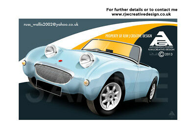 Austin Healey Frog Eye Sprite Poster Illustration