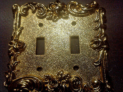 Switch plate Double Vintage Metal 1967 Heavy American Tack Hardware Co 60TT Gold