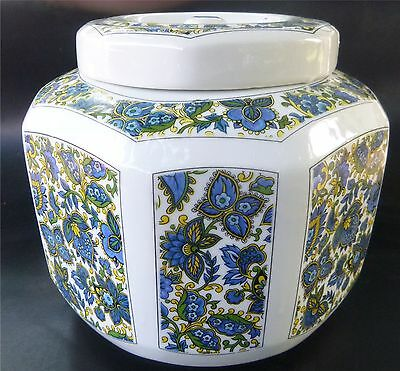 """Hung Jin China Octagon Canister Food Storage Jar 8"""" x 7 1/2"""" White & Blue"""