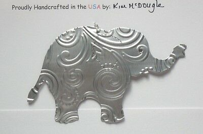 Elephant Christmas Ornament Handmade Double Sided Recycled Aluminum Metal Can