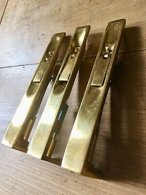 X1 Solid Brass Bolt Latch Lock Internal Cupboard Door Hardware NOS £15 Each