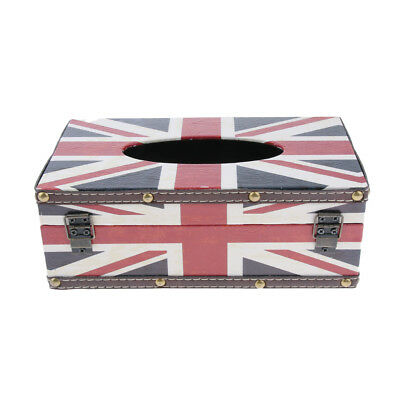 Retro Style Tissue Box Cover, Tissue Holder, Napkin Dispenser, Wooden, Flag