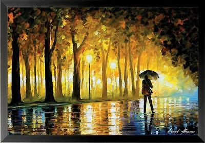 FRAMED Bewitched Park (Man with Umbrella) by Leonid Afremov 36x24 Art Poster