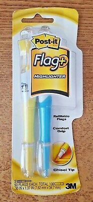 3M POST-IT Flag + Highlighter Yellow and Blue Chisel Tip