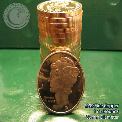 20 American Prospector 1oz .999 Copper rounds 1 Roll in Plasitic Tube