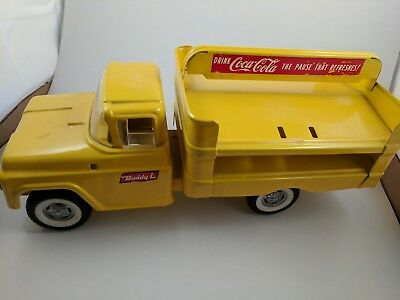 🚚 Vintage 1959 Yello Coca Cola Buddy L Soda Steel Delivery Truck Toy