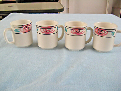 """Set Of 4 Pier 1 Handpainted 4"""" Mugs Made In Italy"""