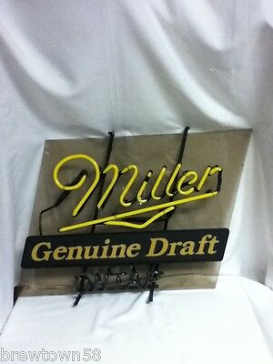 Miller beer sign vintage bar neon light genuine draft lighted on tap broke M HD6