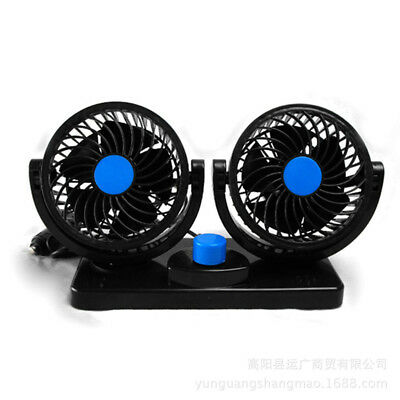 DC 12V Dual Head Car Fan Portable Vehicle Truck 360° Rotatable Auto Cooler 5W