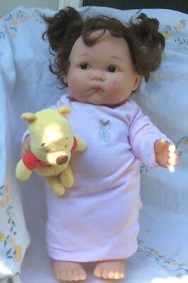 """Berenguer 16"""" Toddler In Nightie& Pooh Bear Buddy Sucky Lip Doll-As Is(ink stain"""