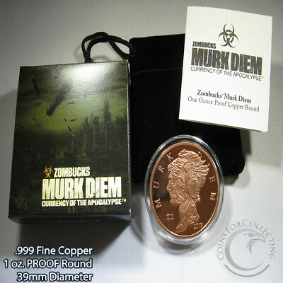 Zombucks Murk Diem Copper Proof Round Coins & Paper Money