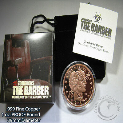 """PROOF """"The Barber"""" 1 oz .999 Copper Round Zombucks Series 2018 Limited"""