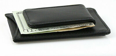 Black Genuine Leather Strong Magnetic Money Clip Ultra Thin Card Wallet